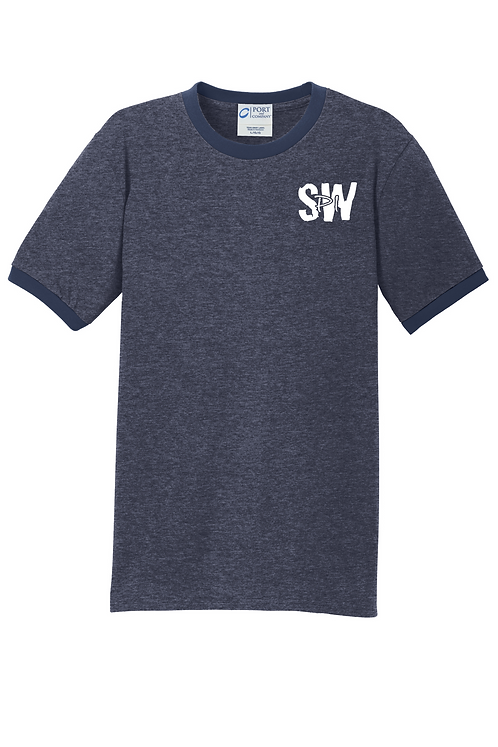 Heather Navy Port & Company® Core Cotton Ringer Tee