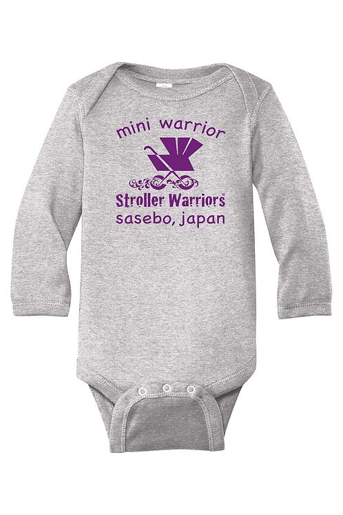Gray Infant Long Sleeve Baby Rib Bodysuit