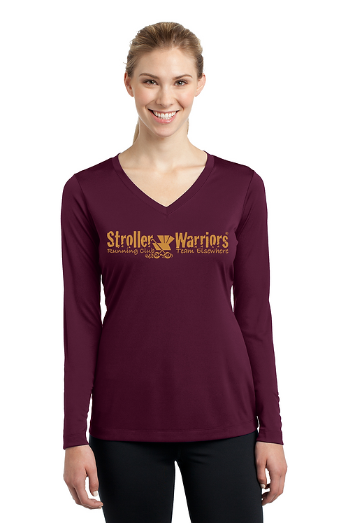 Maroon Sport Tek Ladies Long Sleeve PosiCharge Competitor V neck