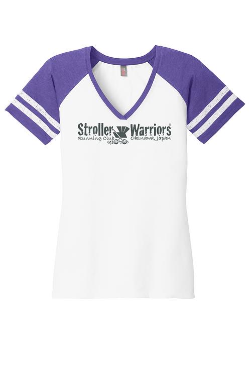 Heathered Purple District Made® Ladies Game V-Neck Tee