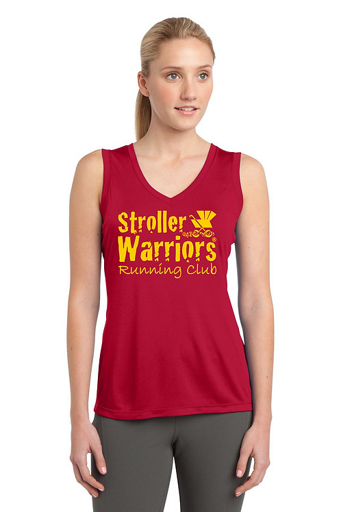 Red Sport-Tek® Ladies Sleeveless V-Neck Tank