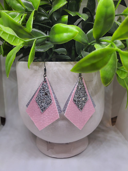 Triple layer diamond faux leather earring
