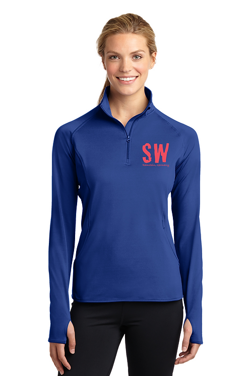 True Royal  Sport Tek Ladies Sport Wick Stretch 1/4 zip pullover