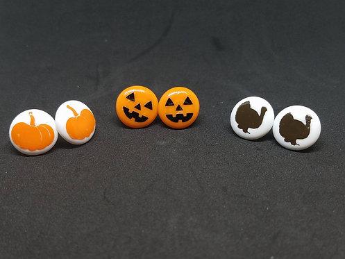 Autumn Earrings, Fall Earrings, Pumpkin earrings, Turkey Earrings