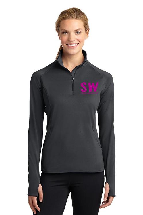 Charcoal Gray Sport Tek Ladies Sport Wick Stretch 1/4 zip pullover