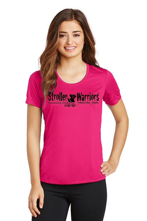 Pink raspberry Sport-Tek® Ladies PosiCharge® Elevate Scoop Neck Tee