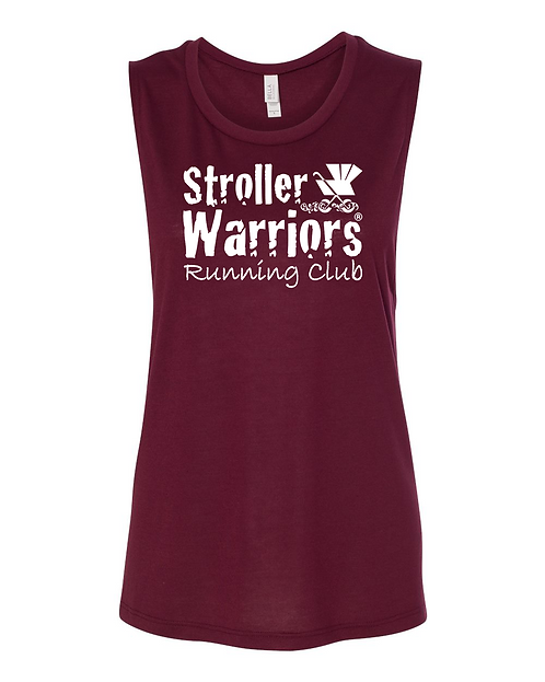 Maroon Heather Bella + Canvas  Women's Flowy Muscle Tank