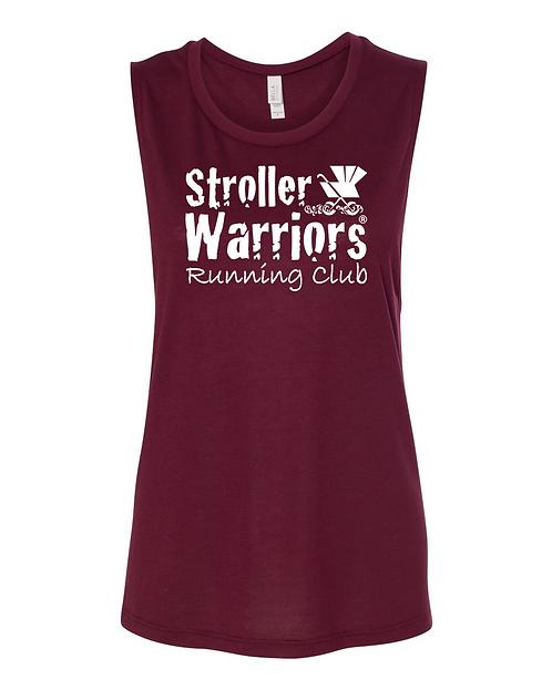 Maroon Heather Bella + Canvas  Women's Flowy Muscle Tank