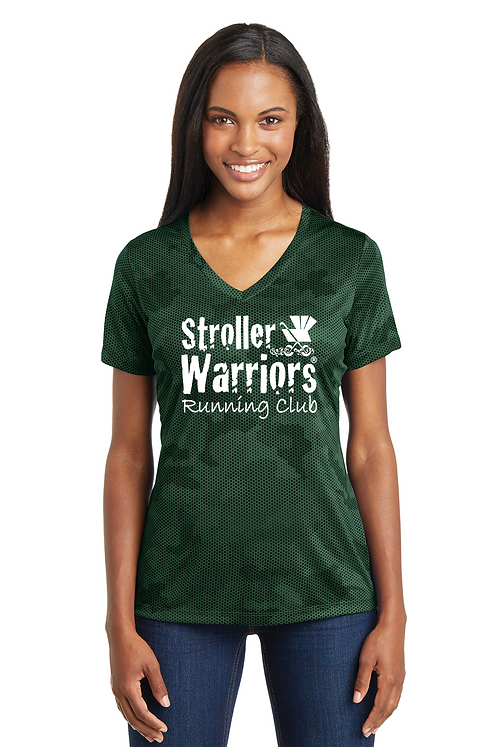 Forest Green Sport-Tek® Ladies CamoHex V-Neck Tee