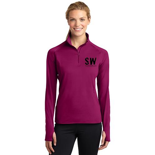 Pink RushSport Tek Ladies Sport Wick Stretch 1/4 zip pullover
