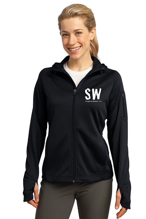 Black Sport-Tek® Ladies Tech Fleece Full-Zip Hooded Jacket