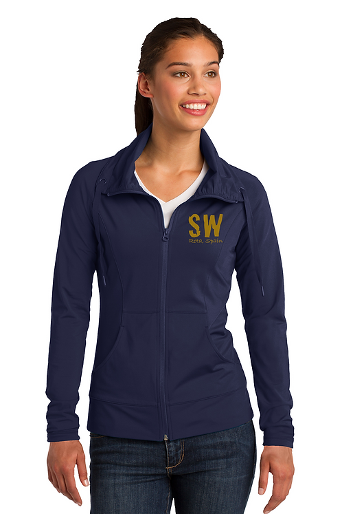 Navy Blue Sport-Tek Ladies Sport-Wick Stretch Full-Zip Jack