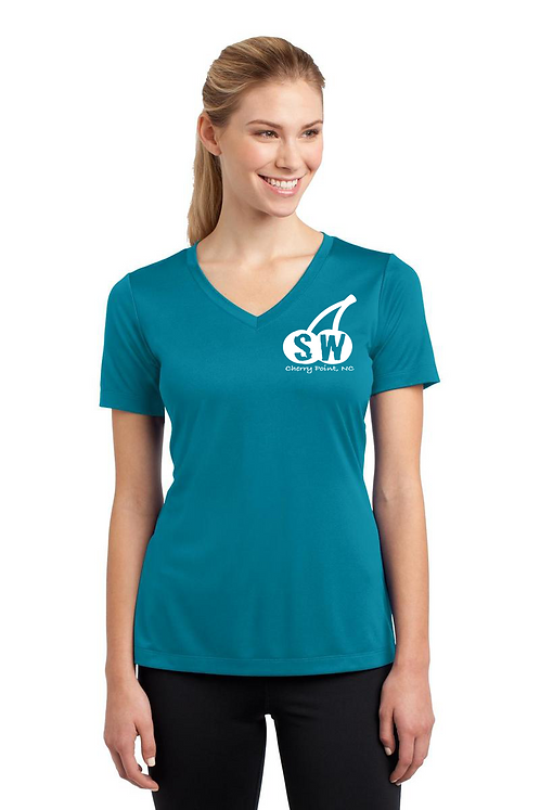 Tropic Blue raspberry Sport-Tek® Ladies PosiCharge® Competitor™ V-Neck Tee
