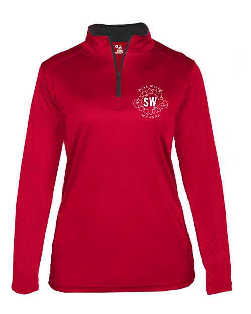 Fort Riley Red & graphite Badger - B-Core Women's Quarter-Zip