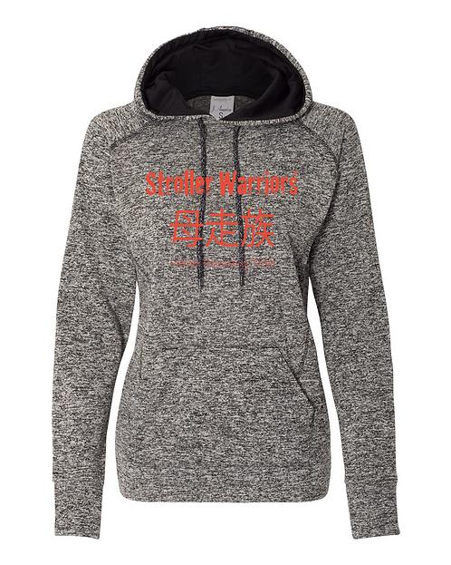 Charcoal / Black J. America - Women's Cosmic Fleece Contrast Hooded Pullover