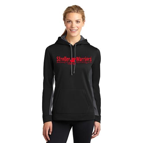 Black & Smoke Sport-Tek® Ladies Sport-Wick® Fleece Colorblock Hooded Pullover