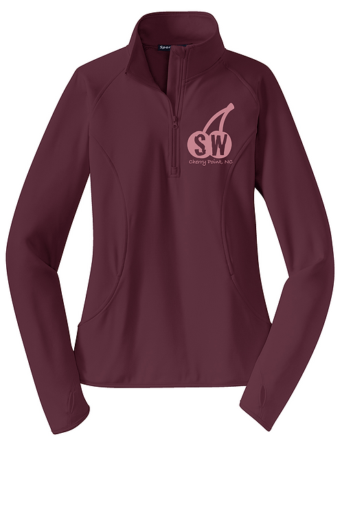 MaroonSport Tek Ladies Sport Wick Stretch 1/4 zip pullover