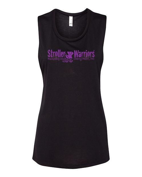 Black Bella + Canvas  Women's Flowy Muscle Tank