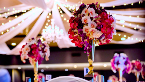 Ceiling Draping and Floral Table Centres at The Greek Club