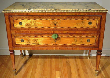 An Exceptional 18th Century Italian Neoclassical Parquetry & Marquetry Commode