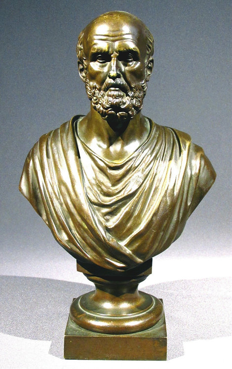 A Finely Cast 19th Century Hellenistic Style Bronze Portrait Bust of Chrysippus