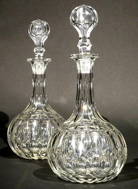 A Fine Pair of 'Shaft & Globe' Cut Glass Decanters, England Circa 1880