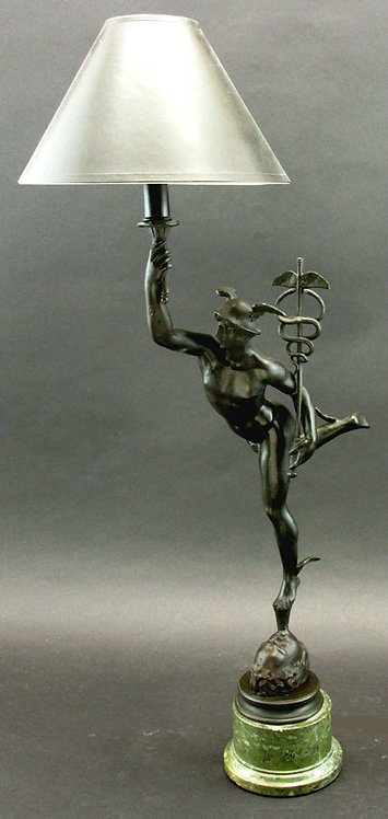 A Fine Grand Tour Style Bronze Figure of Mercury Modelled as a Lamp, Continental