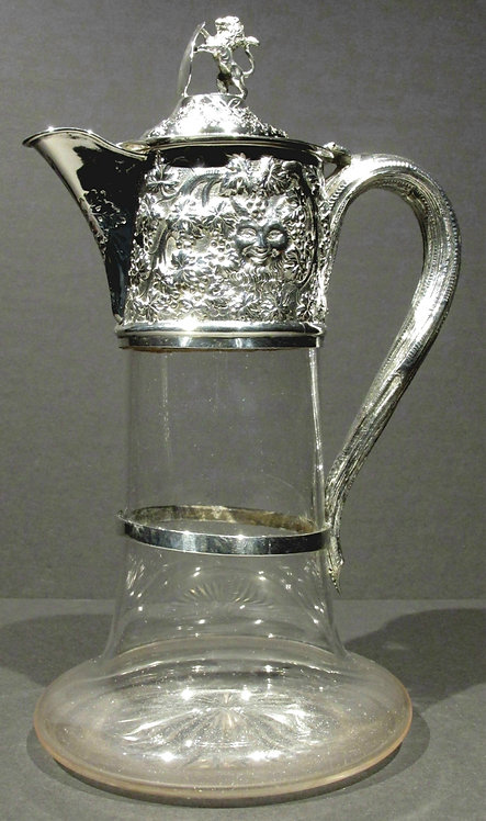 Exceptional 19th Century Etched Glass and Silver Plated Claret Jug by Elkington