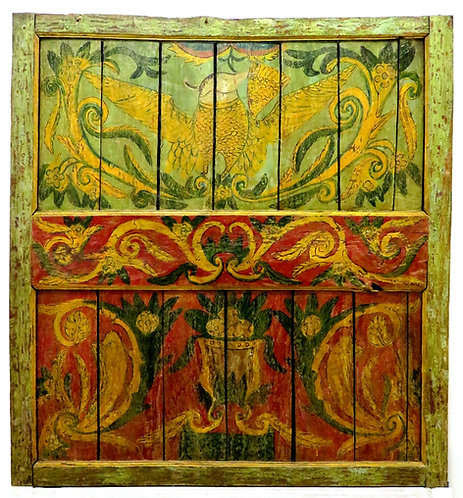 A Large 19th Century Hand Painted 'Rosemaling' Folk Art Panel, Norway Circa 1850