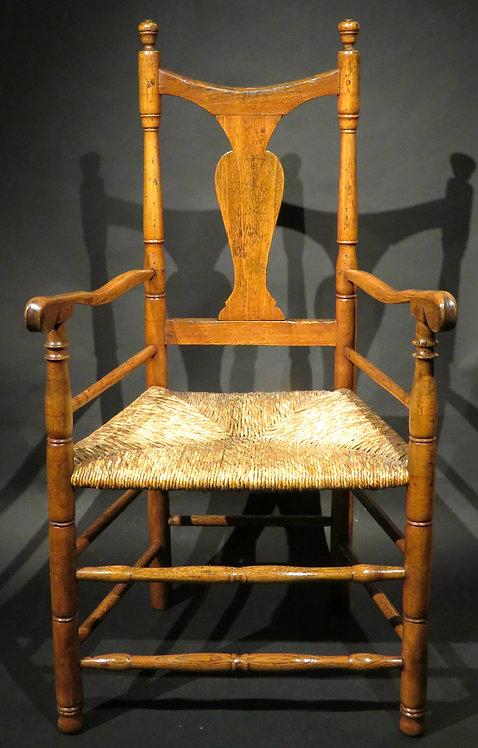 An 18th Century American Queen Anne Rush Seated Armchair, Connecticut Circa 1750