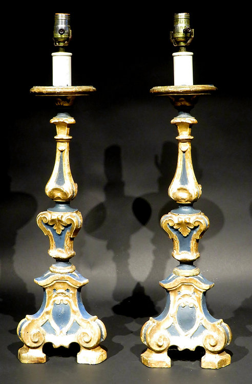 Pair of 19th Century Baroque Style Torchère Table Lamps, Italy Circa 1890