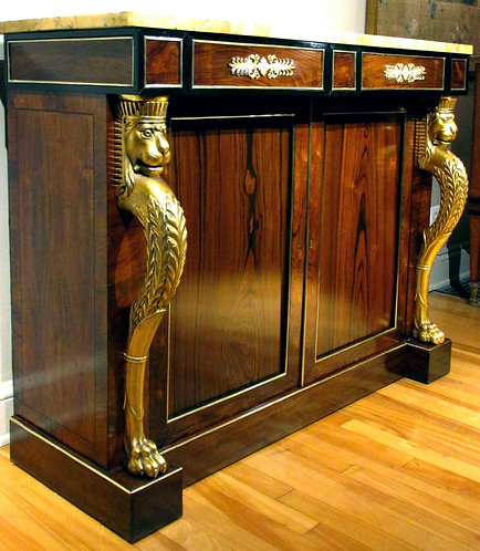 An Exceptional Regency Period Rosewood & Goncalo-Alves Parcel Gilt Side Cabinet
