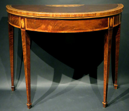An Extremely Fine George III Inlaid Mahogany Demi-Lune Card Table, England