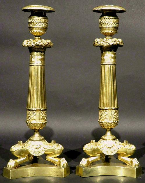 Pair of Charles X Period Gilt Bronze Candlesticks, France Circa 1830