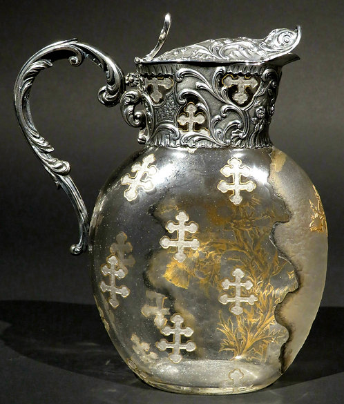 Exceptional French Silver & Daum Glass Wine Ewer / Claret Jug France, circa 1900