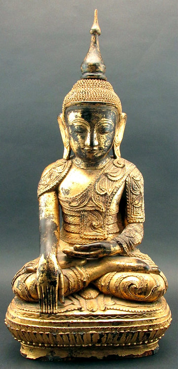 A Finely Carved & Gilded 19th Century Giltwood Buddha, Burmese, Circa 1890