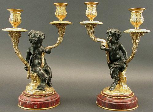 Pair, Louis XV Style Parcel Bronze Figural Twin Branch Candelabra