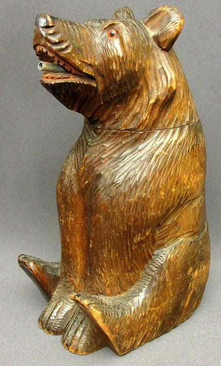 Hand Carved Black Forest Bear Spirit Decanter, Swiss Circa 1920