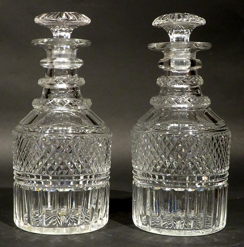 A Very Good Pair of Regency Period Anglo-Irish Cut Glass Decanters, Circa 1825