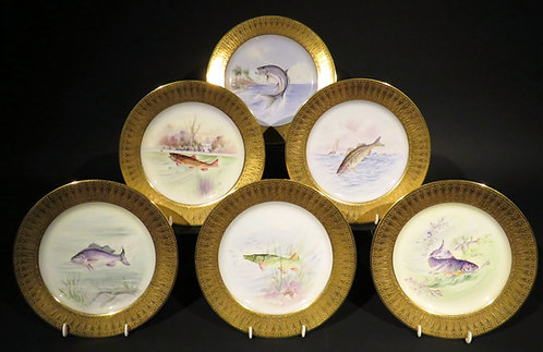 A Very Fine Set of Six Hand Painted Porcelain Cabinet Plates