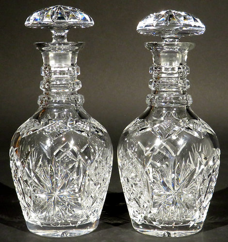 A Very Handsome Pair of Mid 19th Century Anglo-Irish Cut Glass Decanters