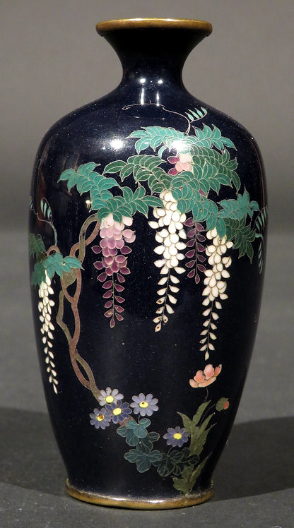A Very Fine Japanese Silver Wire Miniature Cloisonne Vase, Meiji Period