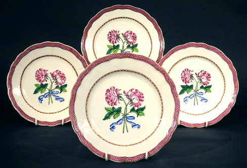 Four Chinese Export 'Famille Rose' Porcelain Botanical Plates, Qianlong Period