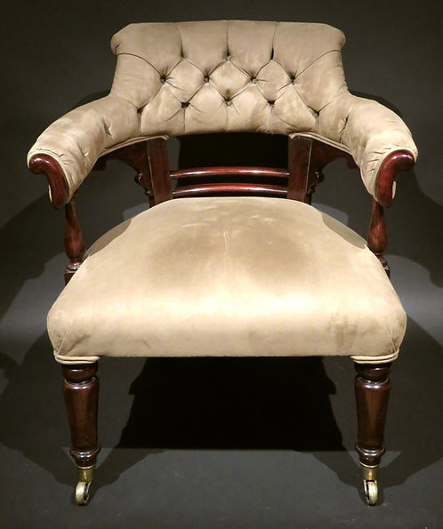 A Mid 19th Century Upholstered Library Chair, English Circa 1840