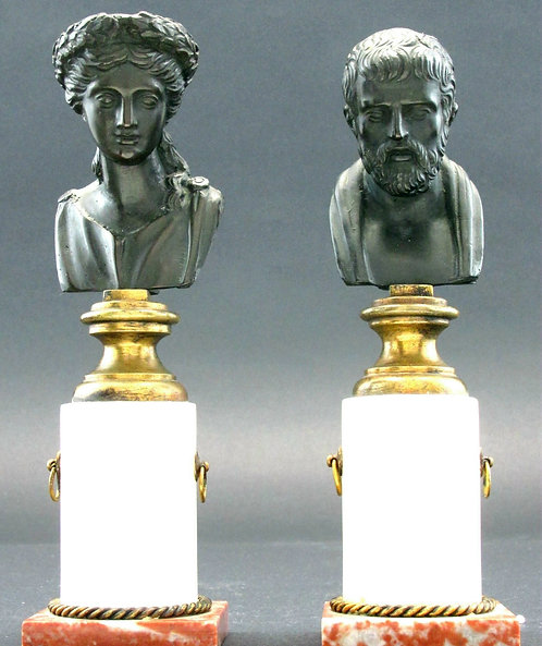 A Very Good Pair of 'Grand Tour' Classical Inspired Miniature Bronze Busts