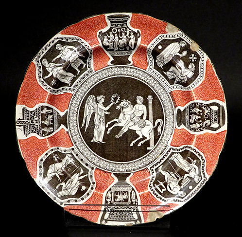 Early 19th Century Herculaneum Pottery 'Greek Pattern' Cabinet Plate, English