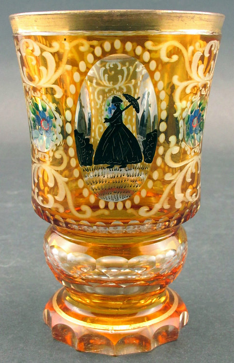 A Very Good 'Cut-to-Clear' Amber Glass Goblet, Bohemia Circa 1870