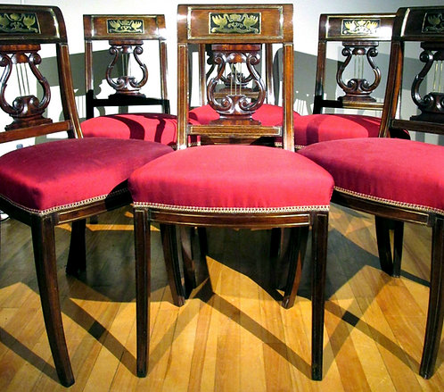 An Extremely Fine Set of Six Directoire Period Brass Inlaid Mahogany Side Chairs