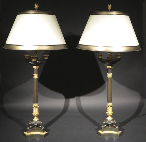 Pair of 19th Century Parcel Gilt Bronze Candelabra Converted to Table Lamps