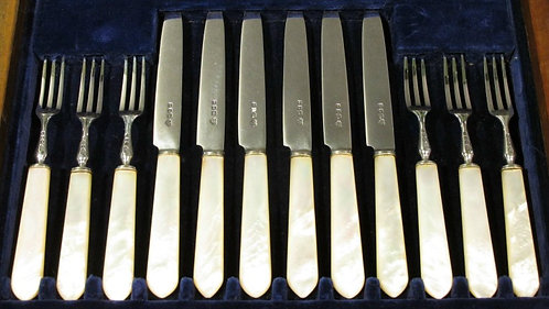 A Fine George V Sterling Silver & Mother-of-Pearl Handled Fruit Set for Six